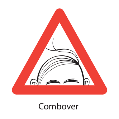 Spoof road sign, Combover.